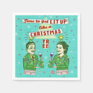 Funny Christmas Party Retro Adult Drinking Holiday Disposable Serviette