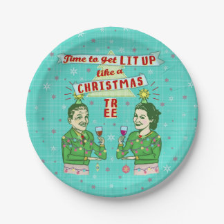 Funny Christmas Party Retro Adult Drinking Holiday Paper Plate