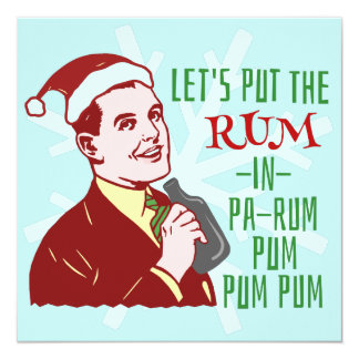 Funny Christmas Party Retro Rum Adult Holiday 13 Cm X 13 Cm Square Invitation Card