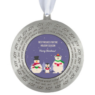 Funny Christmas Penguin Polar bear and snowman Round Pewter Ornament