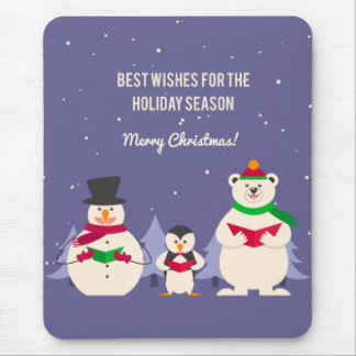 Funny Christmas Penguin Polar bear and snowman Mouse Pads