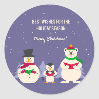 Funny Christmas Penguin Polar bear and snowman Round Stickers