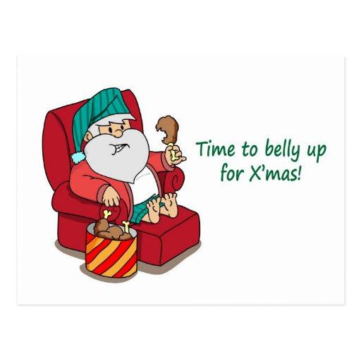 Funny Christmas Postcard: Santa bulks up