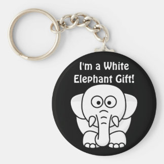 Funny Christmas Present: Real White Elephant Gift! Basic Round Button Key Ring