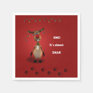 Funny Christmas Red Nosed Reindeer - Paper Napkin