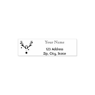 Funny Christmas reindeer head name and address Self-inking Stamp