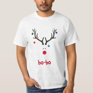 Funny Christmas reindeer head on white T-Shirt