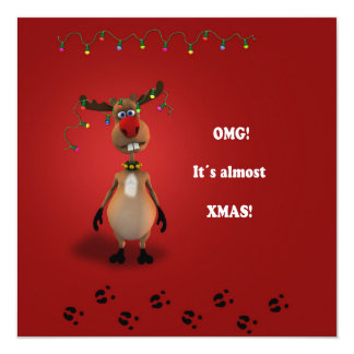 Funny Christmas Reindeer - Invitation