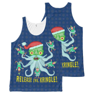 Funny Christmas Release the Kringle Santa Claus All-Over Print Singlet