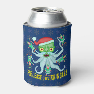 Funny Christmas Release the Kringle Santa Claus Can Cooler