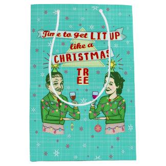 Funny Christmas Retro Drinking Humor Couple Lit Up Medium Gift Bag