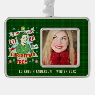Funny Christmas Retro Drinking Humor Woman Lit Up Silver Plated Framed Ornament