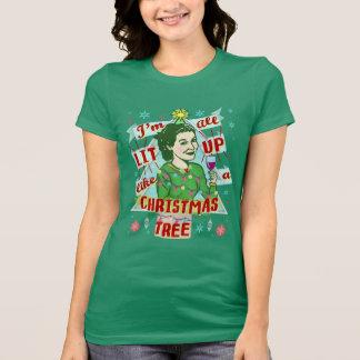 Funny Christmas Retro Drinking Humor Woman Lit Up T-Shirt