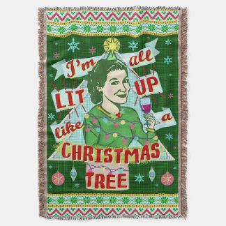 Funny Christmas Retro Drinking Humor Woman Lit Up Throw Blanket