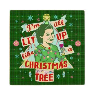 Funny Christmas Retro Drinking Humor Woman Lit Up Wood Coaster