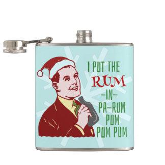 Funny Christmas Retro Rum Drinking Man Holiday Hip Flask
