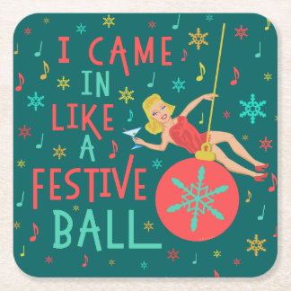 Funny Christmas Retro Woman on Festive Xmas Ball Square Paper Coaster