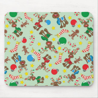 Funny Christmas Rudolph Cartoon Pattern Mouse Pad
