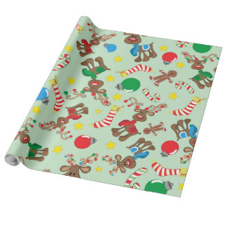 Funny Christmas Rudolph Cartoon Pattern Wrapping Paper