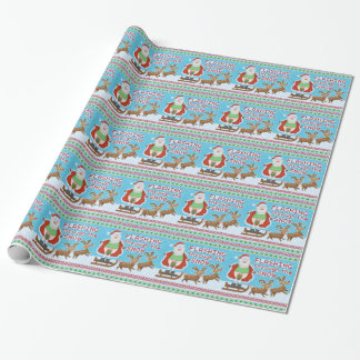 Funny Christmas | Santa Claus Flashing Thru Snow Wrapping Paper