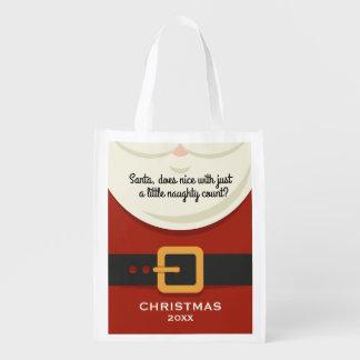 Funny Christmas Santa Claus Naughty & Nice Holiday Reusable Grocery Bag