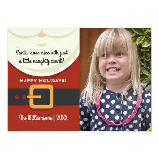 Funny Christmas Santa Claus Naughty & Nice Photo 13 Cm X 18 Cm Invitation Card