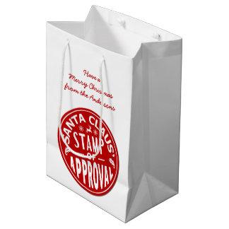Funny Christmas Santa Claus Stamp Custom Party Medium Gift Bag