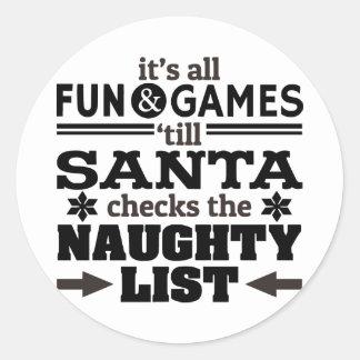 Funny Christmas Santa Naughty List Sticker