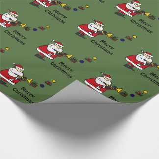 Funny Christmas Santa Playing Trumpet Wrapping Paper