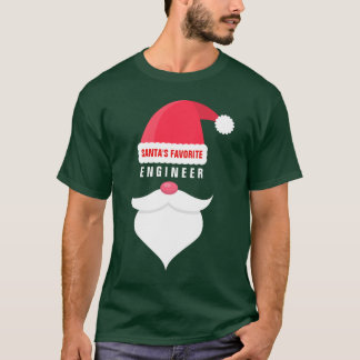 Funny Christmas Santa's Favorite Engineer Custom T-Shirt