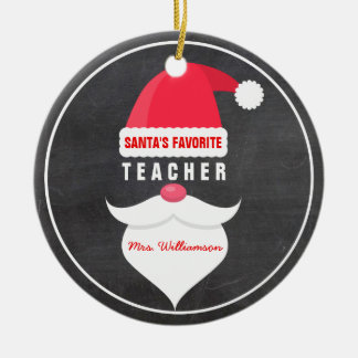 Funny Christmas Santa's Favorite Teacher Custom Ceramic Ornament