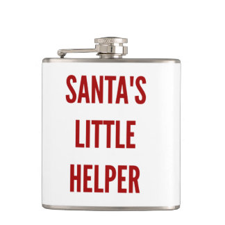 Funny Christmas santa's little helper flask xmas