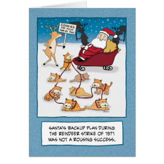 Funny Christmas: Santa's Sleigh Cats Greeting Card