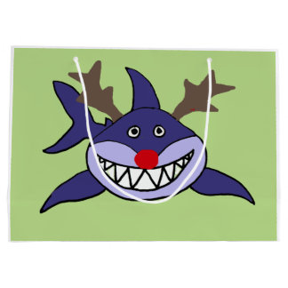 Funny Christmas Shark Reindeer Large Gift Bag