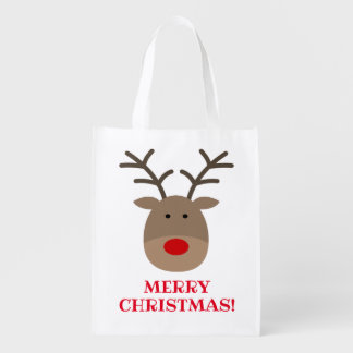 Funny Christmas shopping bag with cute reindeer