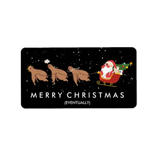 Funny Christmas sloth reindeer Santa face palm Label