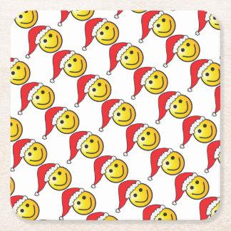 Funny Christmas Smiley Emoji Santa Hat Pattern Square Paper Coaster