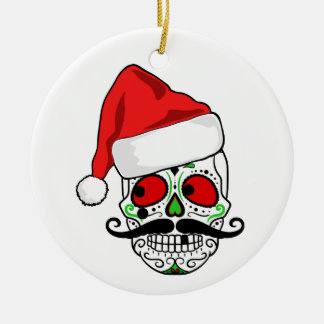 Funny Christmas Sugar Skull Ceramic Ornament
