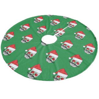 Funny Christmas Sugar Skull Fleece Tree Skirt