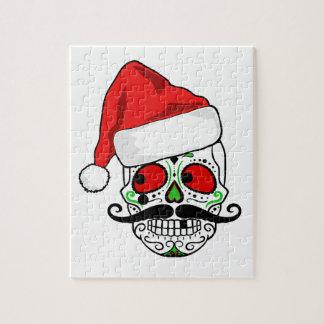 Funny Christmas Sugar Skull Jigsaw Puzzle