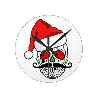 Funny Christmas Sugar Skull Round Clock