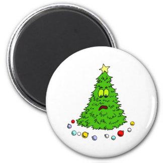 Funny Christmas Tree 6 Cm Round Magnet