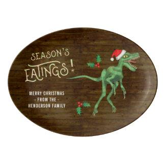 Funny Christmas Velociraptor Dinosaur Custom Name Porcelain Serving Platter