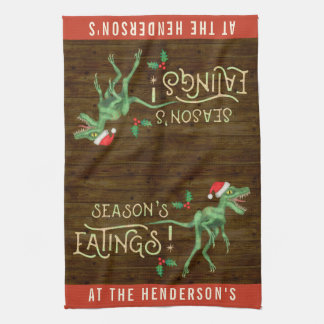Funny Christmas Velociraptor Dinosaur Custom Name Tea Towel