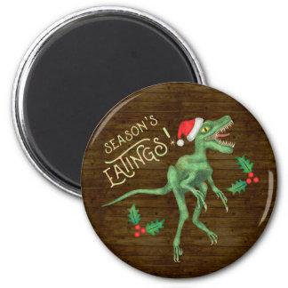 Funny Christmas Velociraptor Dinosaur Eatings Magnet