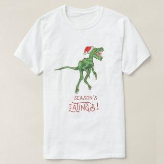 Funny Christmas Velociraptor Dinosaur Eatings T-Shirt