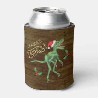 Funny Christmas Velociraptor Dinosaur Monogrammed Can Cooler