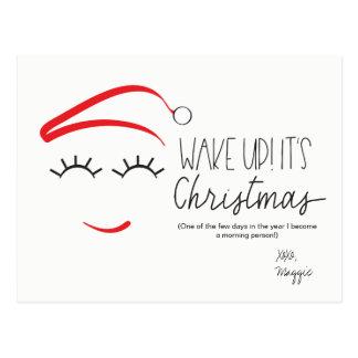 "Funny Christmas, ""Wake Up It's Christmas"" Lashes Postcard"