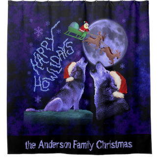 Funny Christmas Wolves Happy Howlidays | Custom Shower Curtain
