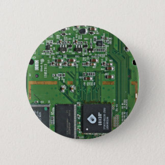 Funny circuit board 6 cm round badge